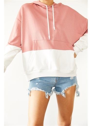 XHAN Mint & Beyaz Parçalı Sweatshirt 1Kxk8-44526-58 Pudra